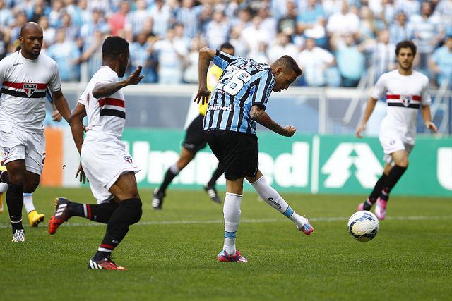 Não é assim que se arremata, Luan. Foto do Lucas Uebel/Grêmio Oficial (via Flickr)