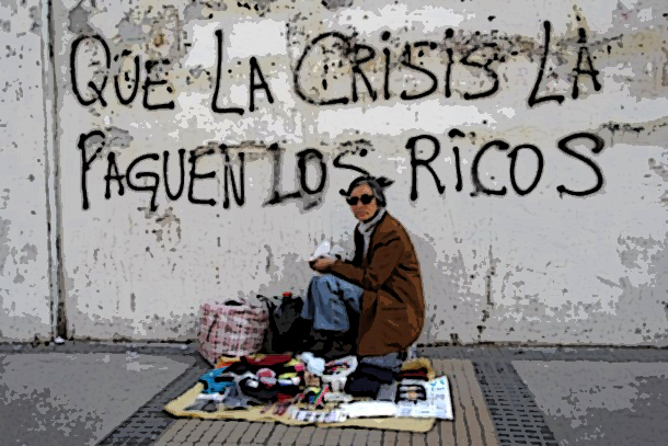 """A street vendor sits in front a wall that reads """"That the crisis pay the rich"""", in downtown Santiago"""