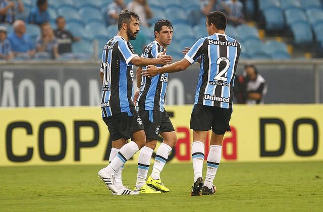 Os dois artilheiros. Foto Lucas Uebel/Grêmio Oficial
