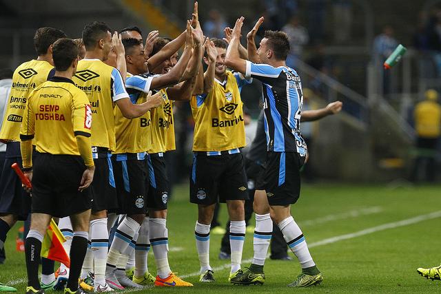 Bressan fez o gol. Foto do Lucas Uebel/Grêmio Oficial (via Flickr)