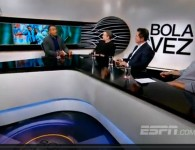 Roger mitando. Imagem do frame da transmissão (Divulgação ESPN)