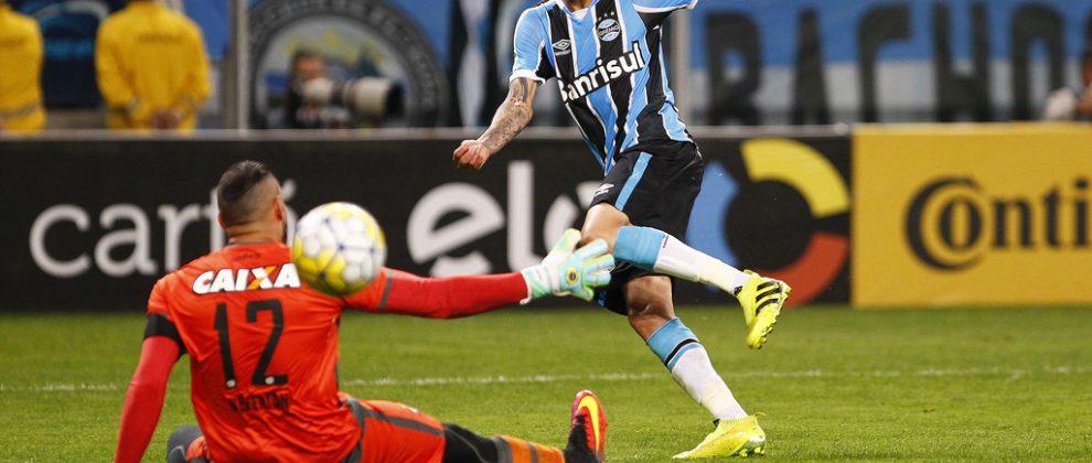 Luan errando o gol. Foto: Lucas Uebel/Grêmio Oficial (via Flickr)